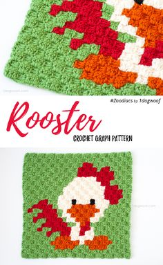 Zoodiacs rooster made using c2c crochet | www.1dogwoof.com