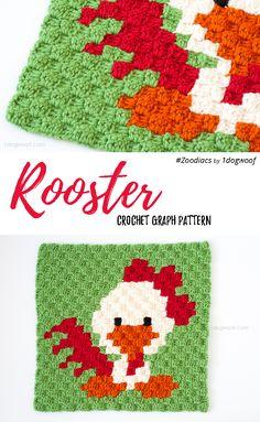Free crochet pattern: Zoodiacs Rooster in c2c (corner-to-corner) crochet | www.1dogwoof.com