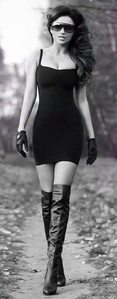 Lil black dress, knee highs, gloves & stunnas (Something about this outfit says I'm gonna take u down hard) <-- she just looks cool Sexy Outfits, Sexy Dresses, Short Dresses, Outfits 2014, Lace Dresses, Dress Long, Dress Outfits, Fall Outfits, Bustier Dress