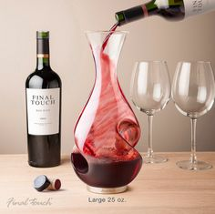 This one aerates the wine twice — once when you pour it into the decanter and once when you pour it into the glass.
