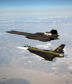 The single-seat NASA joins up with an NASA as crews set up for one of the flights in the recent sonic boom research program conducted by the Dryden Flight Research Center, Edwards, CA. Stealth Aircraft, Military Aircraft, Military Weapons, Air Fighter, Fighter Jets, F 16 Falcon, Old Planes, Aircraft Design, Cool Pictures