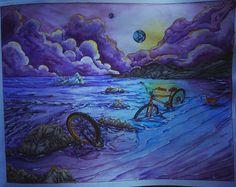 #вокругсветанавелосипеде, #раскраскадлявзрослых, #раскраскаантистресс, #shanjiang #coloringbook, #adultcoloringbook, #romanticcountry, #rhapsodyintheforest, #menuetdebonheur, #meditation, #sea, #watercolor, #prismacolor150, #prismacolor, #fabercastell, #art, #drawing, #coloring