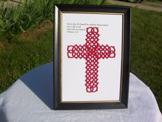 framed tatted cross with verse Hebrews 218 by MamaTats on Etsy, $20.00