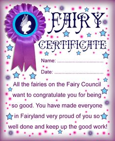 Certificate from the fairies to say well done for being good