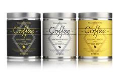 Design simple et sophistiqué. Très beau travail de style sur les caractères typographiques pour ces nouveaux mélanges gastronomiques de café. http://pavementsf.com/work/williams-sonoma-coffee-blends/