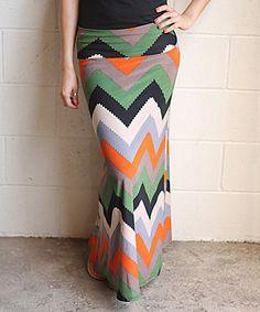 Green & Gray Chevron Maxi Skirt by White Plum #zulily #zulilyfinds