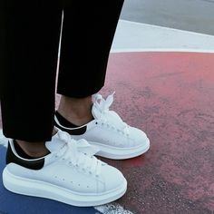 One thing I swear by are my favorite kicks by Alexander McQueen. They are a new take on a classic, and more importantly they make me… Pretty Shoes, Beautiful Shoes, Cute Shoes, Tall Men Fashion, Mens Fashion, Alexandre Mcqueen, Sneakers Outfit Men, Adidas Sneakers, Alexander Mcqueen Sneakers