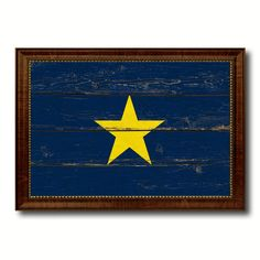 Burnet's 1st Texas Republic 1836-1839 Military Vintage Flag Brown Picture Frame Gifts Ideas Home Decor Wall Art