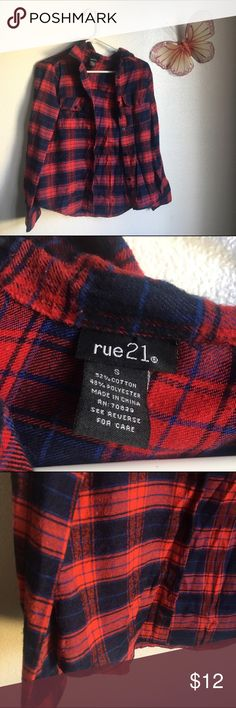 Rue 21 flannel red & navy flannel... size small Rue 21 Tops Button Down Shirts