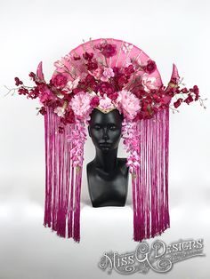 #headdress #headpiece #crown #millinery #flowercrown #horns #flowers #orchids #pink #missgdesigns