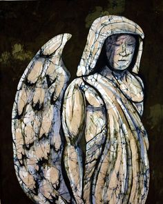 Awe inspiring original textile, fine art batik, Guardian Angel, by Kay Shaffer. Third in the series Stone Sculpture in Batik, this serene and powerful figure is depicted in the medium of batik which perfectly reflects the stone work texture and the depth of emotion.