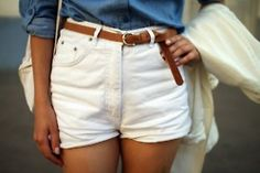 White shorts & belt