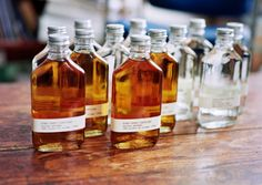 Wedding Favors - Moonshine to go.. or you give a favorite marinade, syrup, or vinaigrette