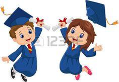 children diplomas: Celebración de la graduación de la historieta Vectores