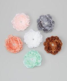 Pink Rhinestone Flower Clip Set by Under The Hooded Towels #zulily #zulilyfinds