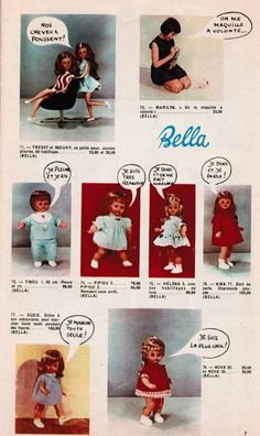 A page from a product catalog featuring a range of French baby and fashion dolls including (top left) the Tressy and Snouky growing hair fashion dolls, France, 1966-67, by Bella.