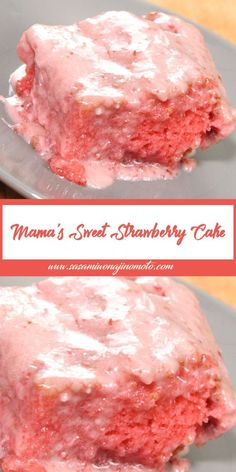 Brownie Desserts, Just Desserts, Delicious Desserts, Yummy Food, Mama's Sweet Strawberry Cake Recipe, Strawberry Desserts, Strawberry Cake Mixes, Strawberry Cake From Scratch, Strawberry Sheet Cakes