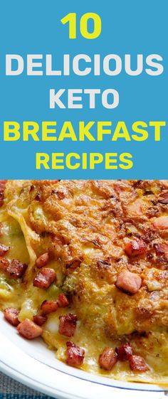 These 10 delicious keto breakfast recipes will make sure you start your day on the Keto diet just right. These recipes are simple, convenient and make sure you'll be looking forward to your Keto breakfast. Breakfast Wraps, Low Carb Breakfast, Breakfast Recipes, Keto Cereal, Fluffy Waffles, Keto Diet Guide, Ham And Eggs, Baked Eggplant, Creamy Cauliflower