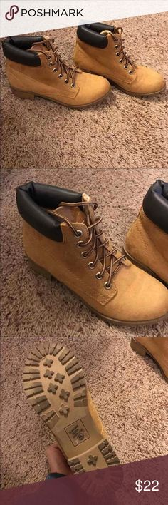 Tan Suede Boots adorable tan suede boots gently used; has a leather-like detaling around the top Shoes Ankle Boots & Booties