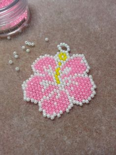 beaded hibiscus flower