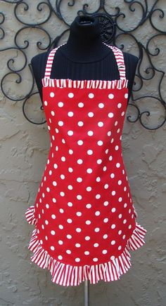 Polka dot Apron $40 from Samantha McCall on etsy