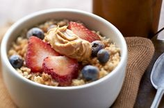 Peanut Butter Oatmeal   Delicious, Satisfying, Energy-Boosting Breakfast   For more recipes visit nationalpeanutboard.org  #peanutpower