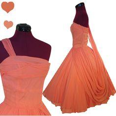 Vintage 50s Peach Chiffon Full Skirt Dress XS, $220.00