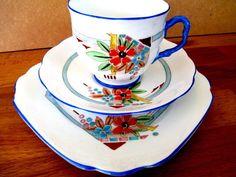 Art Deco / Vintage China Tea Set Trio.Royal Albert Crown China.7065 British 1929