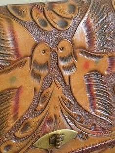 Hand Tooled Leather Love Birds Purse