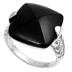 925 Sterling Silver CZ Rectangular Simulated Onyx Ring 12MM