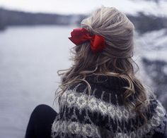 bows and sweaters and winter and hair and...lovely