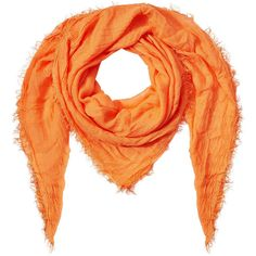 Faliero Sarti Fringed Scarf (5.765 RUB) ❤ liked on Polyvore featuring accessories, scarves, orange, cashmere scarves, faliero sarti scarves, orange shawl, cashmere shawl and fringe shawl