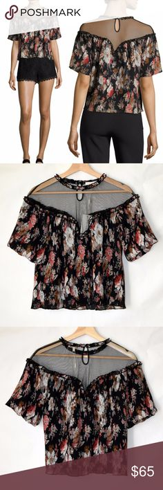NWT Anthro Foxiedox Short Flutter Sleeves Top New with tag Anthropologie Foxiedox  Top with floral print. Crew neckline; illusion yoke Short flutter sleeves Relaxed silhouette Straight hem Polyester Machine wash No care label Size S Foxiedox Tops Blouses