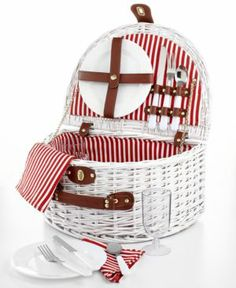 White Wicker Picnic Basket for 2