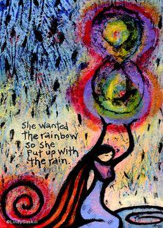 5x7 She Wanted the Rainbow, So She Put Up with the Rain - giclee print wall art via Etsy