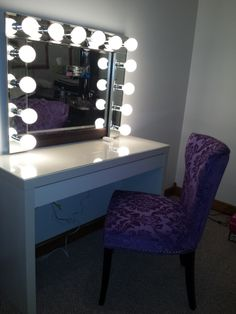 Superior Vanity Mirror With Lights.and That Perfectly Purple Chair!