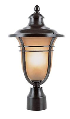 Bel Air Lighting Outdoor Rubbed Oil Bronze Post Light with Amber Frost Glass Shade 5703 ROB - The Home Depot Hanging Lanterns, Candle Lanterns, Outdoor Post Lights, Outdoor Lighting, Bel Air Lighting, Pole Lamps, Lantern Post, Outdoor Ceiling Fans, Exterior Lighting