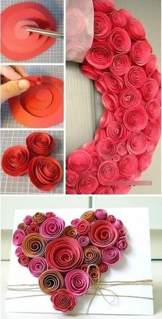 Paper heart for Valentine's Day . Paper heart for Valentine's Day Paper Flowers Diy, Handmade Flowers, Flower Crafts, Diy Paper, Fabric Flowers, Paper Crafts, Origami Flowers, Origami Rose, Paper Rosettes