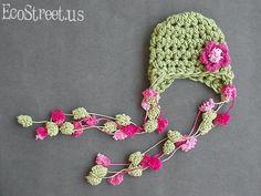 Baby Girl Hat NewbornCrochet Hat in Pink and Sage door EcoStreet