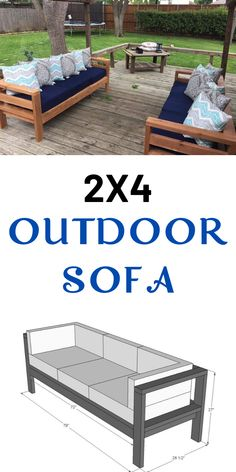 Build your own outdoor sofa with just 11 Ana White plans include step by step diagrams and shopping and cut list. We also have a plans to convert this sofa to an outdoor sectional, a matching outdoor coffee table plan, and outdoor wood finishing secrets. Outdoor Sofa, Outdoor Coffee Tables, Diy Outdoor Furniture, Outdoor Living, Backyard Furniture, Indoor Outdoor, Farmhouse Furniture, Outdoor Areas, Outside Furniture Patio