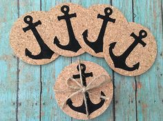 Anchor Cork Coasters, Nautical Coasters, Drink Coaster Set, Bar Coaster Set, Beach Coasters, Drink Coasters, Bar Coasters, Nautical Coasters