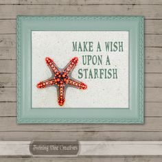 Make A Wish Beach Quote, Printable Starfish Beach Wall Art by Twining Vine Creatives