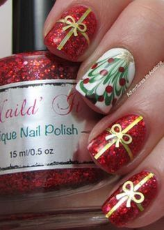 Gift wrap and Christmas tree nail art design. A perfect nail art to don on a Christmas party. Use white and red glitter polish as background and add gold ribbons on top to complete the gift effect.
