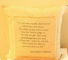 """Mother Teresa """"How Much Love?"""" 20"""" x 20"""" Pillow. KK001 https://www.amazon.com/dp/B0758W9T16/ref=cm_sw_r_pi_dp_x_Ah61zb97PXT3Z"""