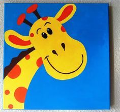Cute Peekaboo GIRAFFE... Handpainted Acrylic Painting on Canvas ...for Kids nursery and/or playroom ...on a 12 x 12 canvas. $49.99, via Etsy.