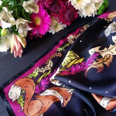 954198c17f46 The beautiful rich colours of the Dandy Fox ladies silk scarf ❤ Pure Silk
