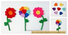 Flowers can be fun crochet projects at any time of year and they are definitely hot in the hooks each spring. These Crochet Flowers are made withindividual hearts. They would be a beautiful addition to a card or a gift. ThisHeart Flowers Free Crochet Pattern is a very simple project to work up.