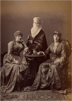"""From """"Les Costumes Populaires de la Turquie"""", by Pascal Sebah, on the occasion of the universal exposition in Viena in 1873. The album was entitled """"Ouvrage publié sous le patronage de la Commission impériale ottomane pour l'Exposition universelle de Vienne"""" and was authored in French by Osman Hamdi Bey (1842-1910) and Victor Marie de Launay (b. 1922/3) to represent the costumes of the different regions and ethnic or religious groups of the Ottoman Empire."""