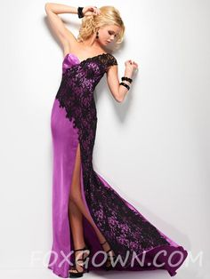 purple satin one shoulder long prom with black lace overlay