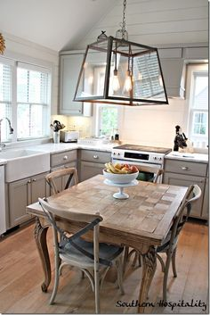 Gray kitchen cabinets Mitchell Gold Cottage at Serenbe - Southern Hospitality